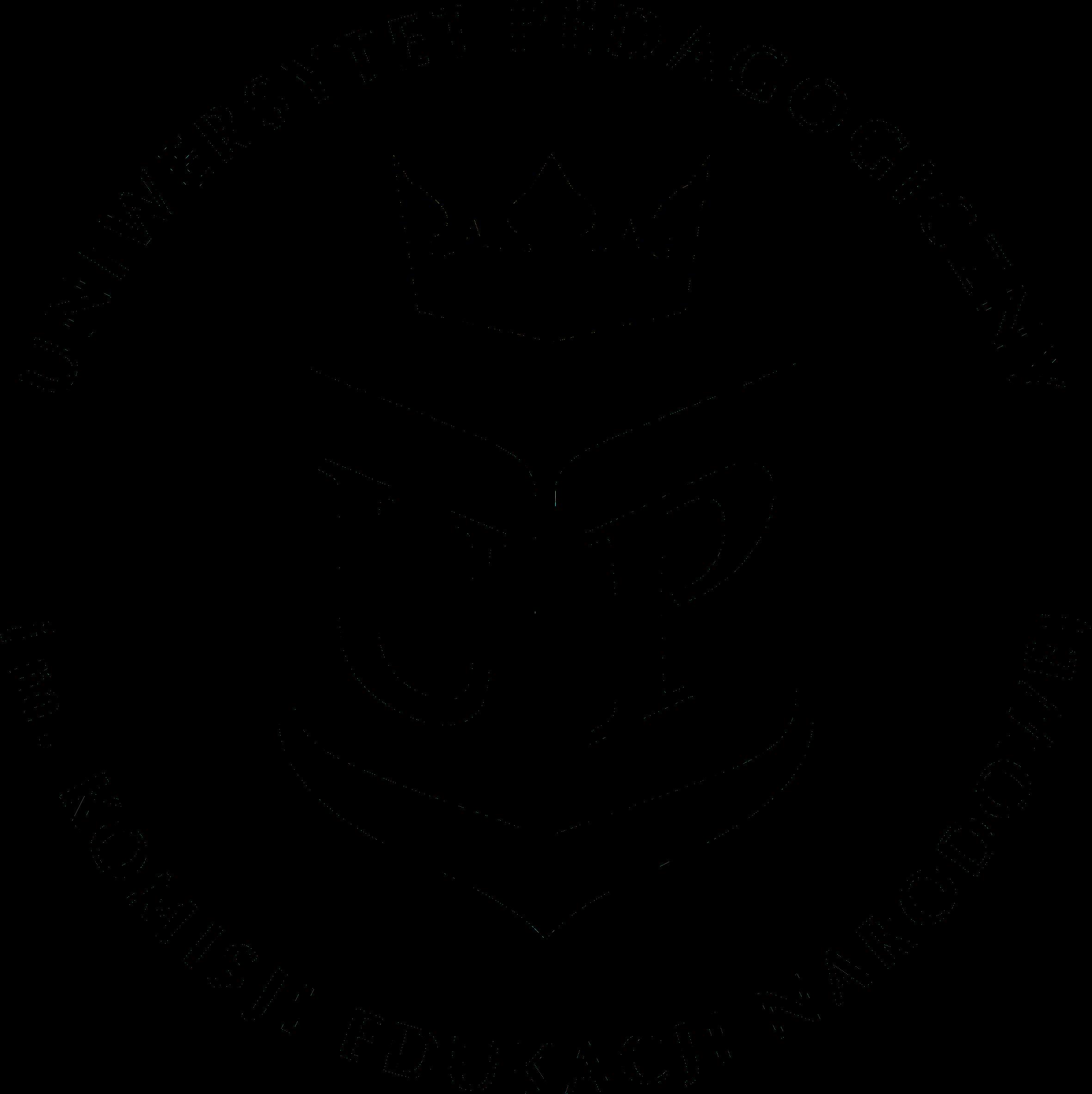 Czarno białe logo. Drukowane litery U oraz P wpisane w rysunek otwartej księgi gdzie każda z liter zajmuje całą stronę. Księga umieszczona w kształcie herbu, nad którym unosi się korona. Napis 'Uniwersytet Pedagogiczny im. Komisji Edukacji Narodowych' poprowadzony dookoła rysunku zamyka się w kręgu.