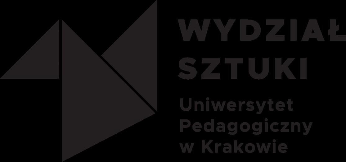 Czarno białe logo. Trzy czarne trójkąty o różnych wielkościach i kątach ułożone obok siebie. Przypominają geometrycznego ptaka z tangramu lub origami. Po ich prawej stronie napis: 'Wydział Sztuki' oraz dopisek mniejszymi literami: 'Uniwersytet Pedagogiczny w Krakowie'.